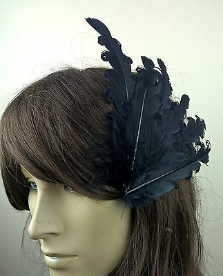 navy blue feather fascinator millinery hair clip wedding piece ascot race dance