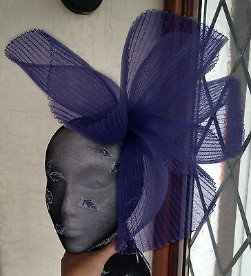 navy blue fascinator millinery burlesque wedding hat ascot race bridal british 1