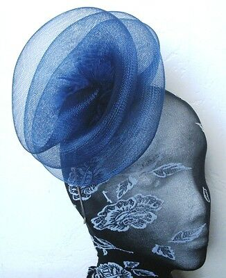 navy blue feather fascinator millinery burlesque headband wedding hat hair piece