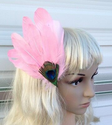 light pink fascinator millinery peacock feather hair clip wedding piece ascot