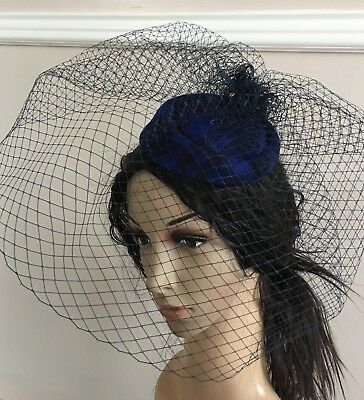 navy blue felt mini pill box hat veiling french veil fascinator wedding race