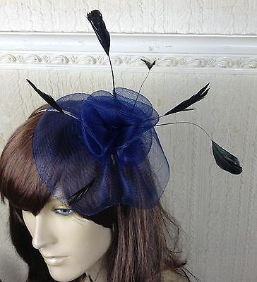 navy dark blue feather hair headband fascinator millinery wedding hat ascot race