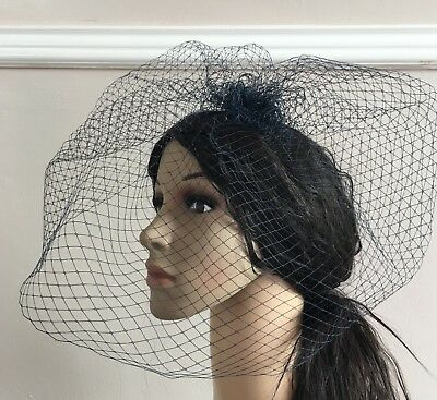 navy blue french veil veiling fascinator wedding bridal hair hat comb clip race