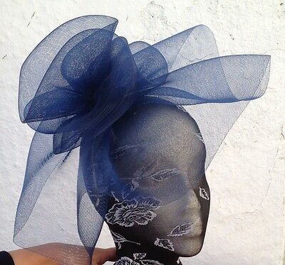 navy blue fascinator millinery burlesque wedding hat ascot race bridal british