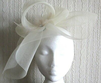 ivory feather headband fascinator millinery hat wedding