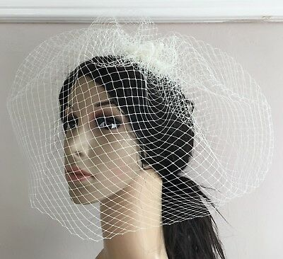 ivory french veil veiling fascinator wedding bridal hair hat comb clip race