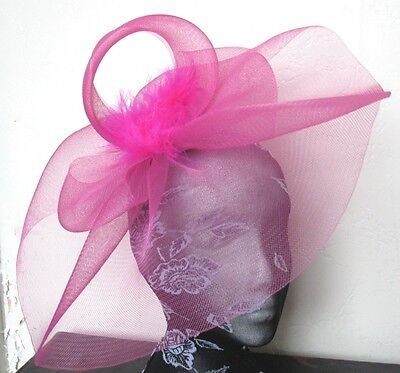 hot pink feather fascinator millinery burlesque headband wedding hat hair
