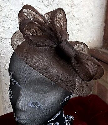 dark brown fascinator millinery burlesque wedding hat ascot race bridal party