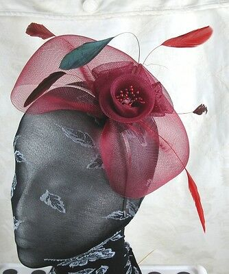 dark red feather headband fascinator millinery wedding ascot hat hair piece