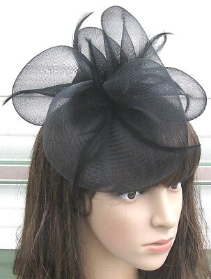 jet black fascinator millinery feather brooch clip wedding hair piece ascot 1