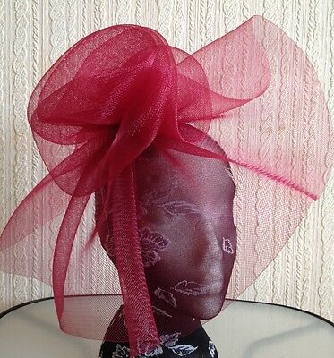 dark red maroon burgundy headband fascinator millinery hat wedding ascot race