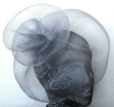 grey feather fascinator millinery burlesque headband wedding hat hair piece