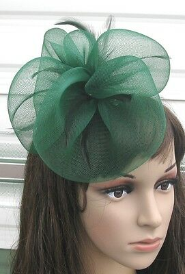 dark green fascinator millinery feather brooch clip wedding hair piece ascot