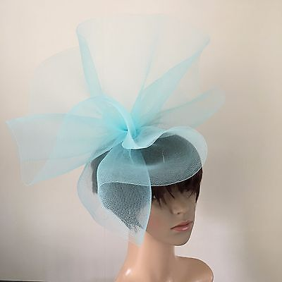 duck egg light pale baby blue feather headband fascinator millinery wedding hat