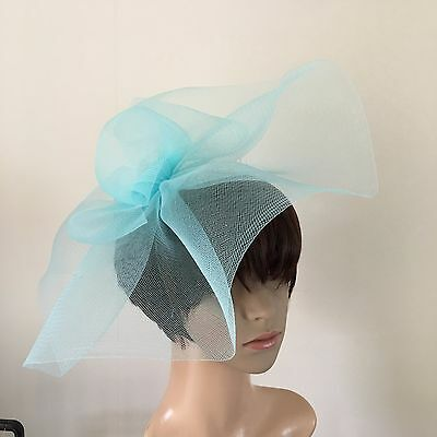 duck egg light pale baby blue feather headband fascinator millinery wedding