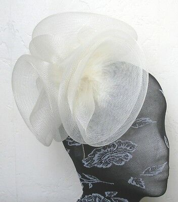 ivory feather fascinator millinery burlesque headband wedding hat hair piece