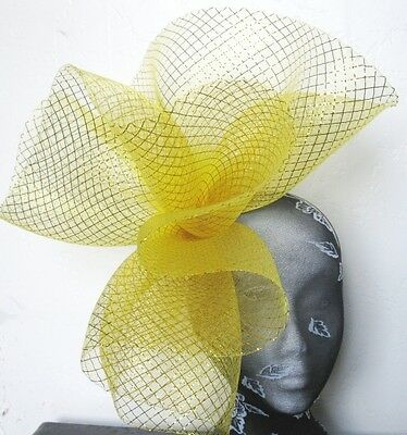 gold feather fascinator millinery burlesque headband wedding hat hair piece 1