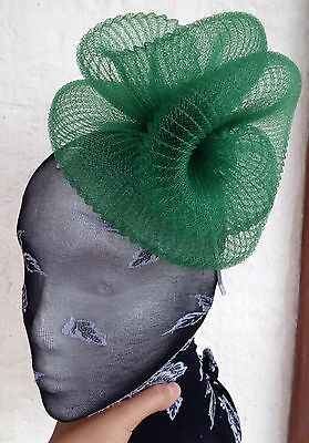 Green fascinator millinery burlesque wedding hat hair piece ascot race bridal
