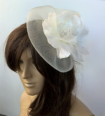 ivory satin flower fascinator millinery burlesque wedding hat bridal race x