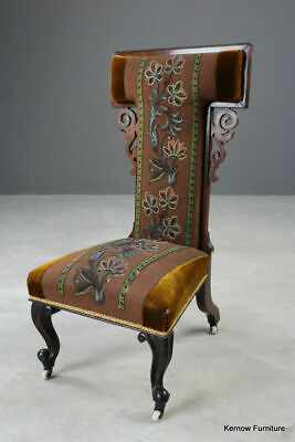 Antique Rosewood Beaded Tapestry Prie Dieu Prayer Chair Bedroom Occasional