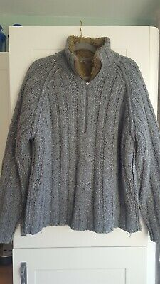 Mens Large Fat face Grey Chunky Knit Lines With Brown Faux Fur