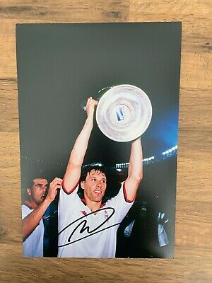 MARCO VAN BASTEN - Hand Signed 12x8 Photo - Ajax AC Milan Holland - Football