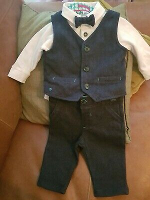 Ted Baker Baby Boys Outfit 3-6 Months Smart Suit Bow Tie Navy Blue Wedding...