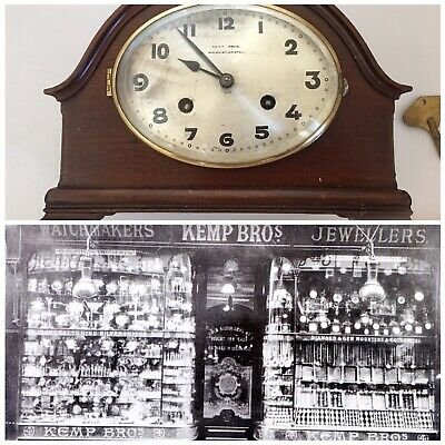 ANTIQUE KEMP BROS MANTLE CLOCK 8DAY TIME & STRIKE 1900s