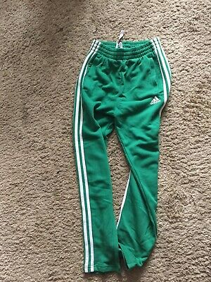 Adidas Boys Girls Tracksuit Jogging Bottoms Green Age 11-12 Good Condition
