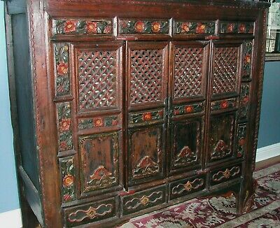 Hand-carved all wood antique Asian/ India/Pakistan chest, wardrobe or cabinet