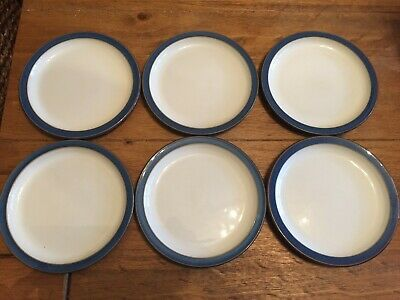 DENBY IMPERIAL BLUE 6 x SIDE TEA PLATES The Smaller Style
