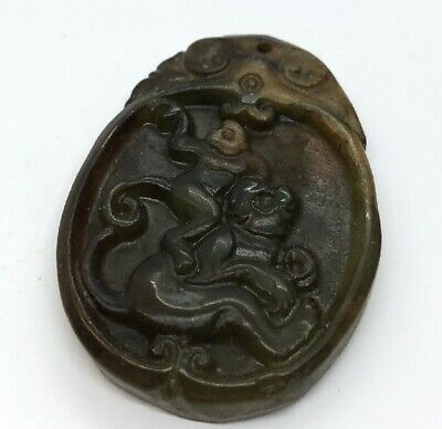 Vintage Antique Jade Necklace Pendant Chinese Monkeys Green Carved