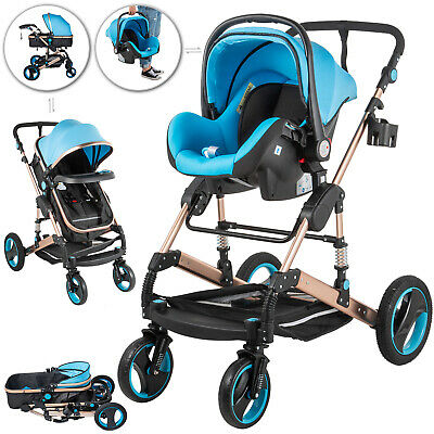 3 In 1 Foldable Baby Stroller High View Pram Pushchair Bassinet Car Seat Basket