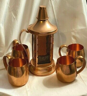 Vintage WEST BEND Aluminum Solid Copper Moscow Mule Mugs Cups with Decanter