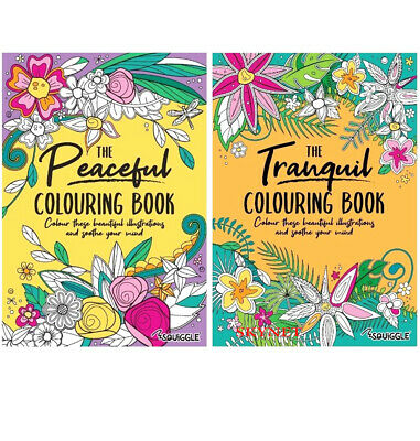 2 X ADULT COLOURING BOOK SET Anti-Stress Colour Therapy + 20 PREMIUM PENCILS