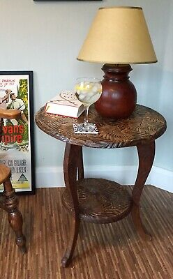Liberty & Co Antique Arts & Crafts Hand Carved Japanese Sunflower Table c.1905