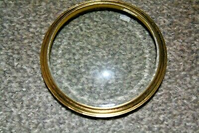 "Vintage 31/2"" French clock brass bezel with bevelled glass for parts/spares"