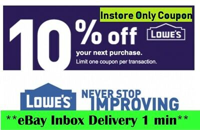 TWO 2X Lowes 10% OFF2Coupons-Instore Only-EXP 06/07/20_VERY_FAST_SENT__