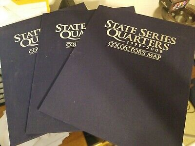 (3) State Series Quarters 1999-2008 Coin Collectors Map Album Complete/50 Coins