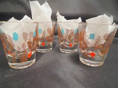 Vintage 1950-60's Atomic Amoeba Turquoise Red Gold Glass Shot Glasses Set of 4