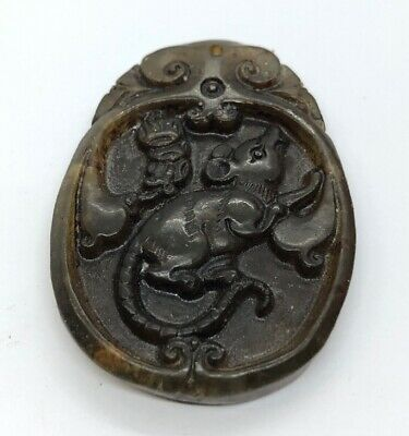 Vintage Antique Jade Necklace Pendant Mouse Chinese Carved Animal Green