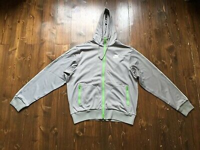 Nike Vintage Zip Hoodie In Grey With Lime Green Accent And Zipped Front Pockets