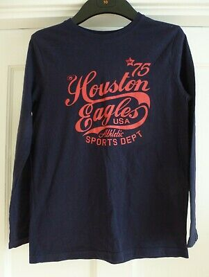 Boys Age 11-12 yrs Navy Blue 100% Cotton Long Sleeved T-Shirt Top from Primark