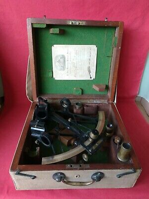 GENUINE ANTIQUE 1800s VICTORIAN BRASS SEXTANT & LENSES IN CASE. A. BLACK & NYK
