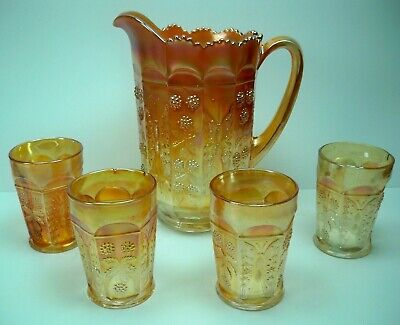 Antique Fenton Marigold Carnival Glass Butterfly & Berry 5 pc Water Set