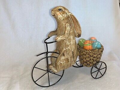 Easter Bunny Rabbit Riding Tricycle with Basket of Eggs