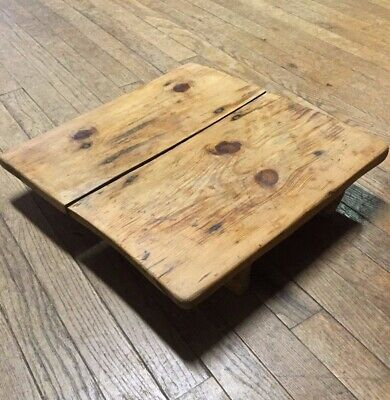 Early Primitive Square Bread Board/Table with Old  Wood Raised Legs ~ PR501