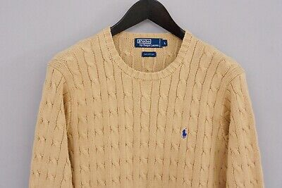 Men Polo By Ralph Lauren Jumper Beige Cable Knit Cotton Crew Neck L XMO911