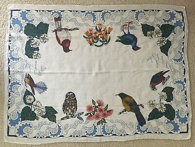 New Zealand map souvenir tablecloth, birds, flowers, 47 x  63""