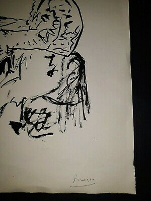 Pablo Picasso Original vintage rare art ink drawing on paper signed No print!